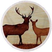 Coffee Painting Deer Love Round Beach Towel