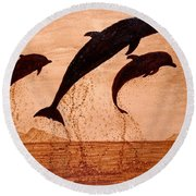 Coffee Painting Dolphins Playing Round Beach Towel