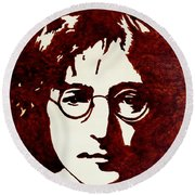 Coffee Painting John Lennon Round Beach Towel