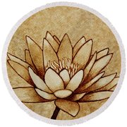 Coffee Painting Water Lilly Blooming Round Beach Towel