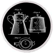 Coffee Pot Patent 1916 Black Round Beach Towel