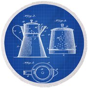 Coffee Pot Patent 1916 Blue Print Round Beach Towel
