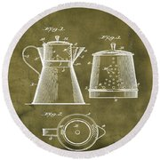 Coffee Pot Patent 1916 Grunge Round Beach Towel