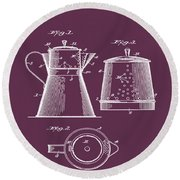 Coffee Pot Patent 1916 Red Round Beach Towel