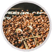 Coffee Service Scene Round Beach Towel