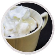 Coffee With Whipped Cream Round Beach Towel