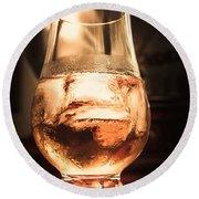 Cognac Glass On Bar Counter Round Beach Towel