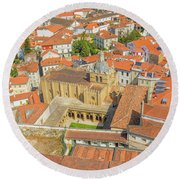 Coimbra Cathedral Aerial Round Beach Towel