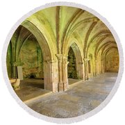 Coimbra Old Cathedral Round Beach Towel