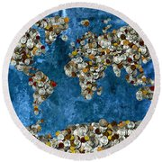 Coins World Map Round Beach Towel