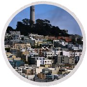 Coit Tower In San Francisco Round Beach Towel