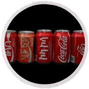 Coke Cans Round Beach Towel