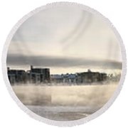 Cold Day Foggy River Panorama Oulu Round Beach Towel