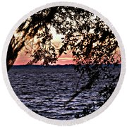 Cold Florida Sunset Round Beach Towel