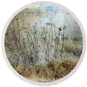 Cold Flowers Round Beach Towel