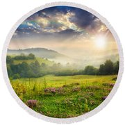 Cold Fog In Mountains On Forest At Sunset Round Beach Towel