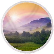 Cold Fog On Hot Sunrise In Mountains Round Beach Towel