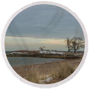 Cold Morning Round Beach Towel