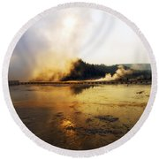 Cold Morning Sunrise At Grand Prismatic Spring Round Beach Towel