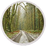 Cold Paths Round Beach Towel
