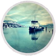 Cold Reflections Round Beach Towel