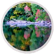 Cold Spring Harbor Reflections Round Beach Towel