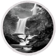 Cold Spring Morning At Kaaterskill Falls II Round Beach Towel
