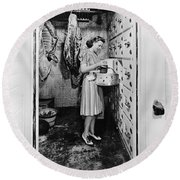 Cold Storage Room, C1940 Round Beach Towel