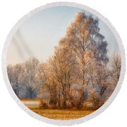 Cold Winter Evening In The Valley Round Beach Towel
