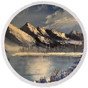 Cold Winter Lake Round Beach Towel