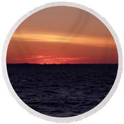 Cold Winter Sunset 1 Round Beach Towel