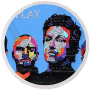 Coldplay Band Portrait Recycled License Plates Art On Blue Wood Round Beach Towel