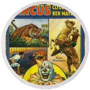 Cole Bros Circus With Clyde Beatty And Ken Maynard Vintage Cover Magazine And Daily Review Round Beach Towel