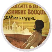 Colgate Cashmere Bouquet Advertising Poster Round Beach Towel