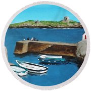 Coliemore Harbour, Dalkey Round Beach Towel