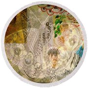 Collage 23 Faces Round Beach Towel