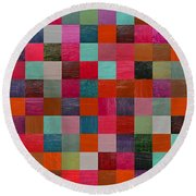 Collage Color Study Fuchsia Round Beach Towel