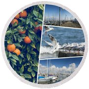 Collage Of Cyprus Images Round Beach Towel