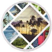 Collage Of Hawaii  Round Beach Towel