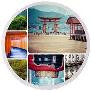 Collage Of Japan Images Round Beach Towel