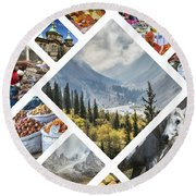 Collage Of Kyrgyzstan Round Beach Towel