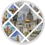 Collage Of Moscow Round Beach Towel