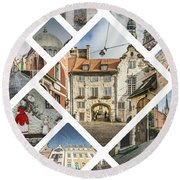 Collage Of Riga Round Beach Towel