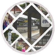 Collage Of Seoul Round Beach Towel