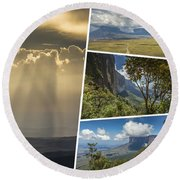 Collage Of Table Mountain Roraima  Round Beach Towel