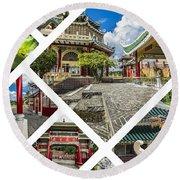 Collage Of Taoist Temple In Cebu, Philippines. Round Beach Towel