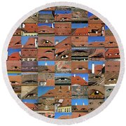 Collage Roof And Windows - The City S Eyes Round Beach Towel