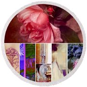 Collage So Rosey Round Beach Towel