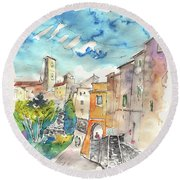 Colle D Val D Elsa In Italy 02 Round Beach Towel