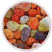 Collecting Pebbles Round Beach Towel